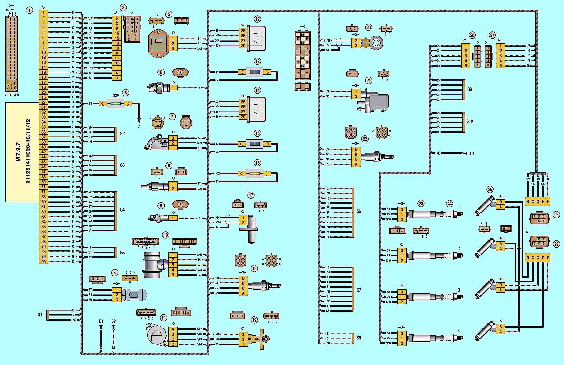 схема системы электрооборудования ваз 21083 фото