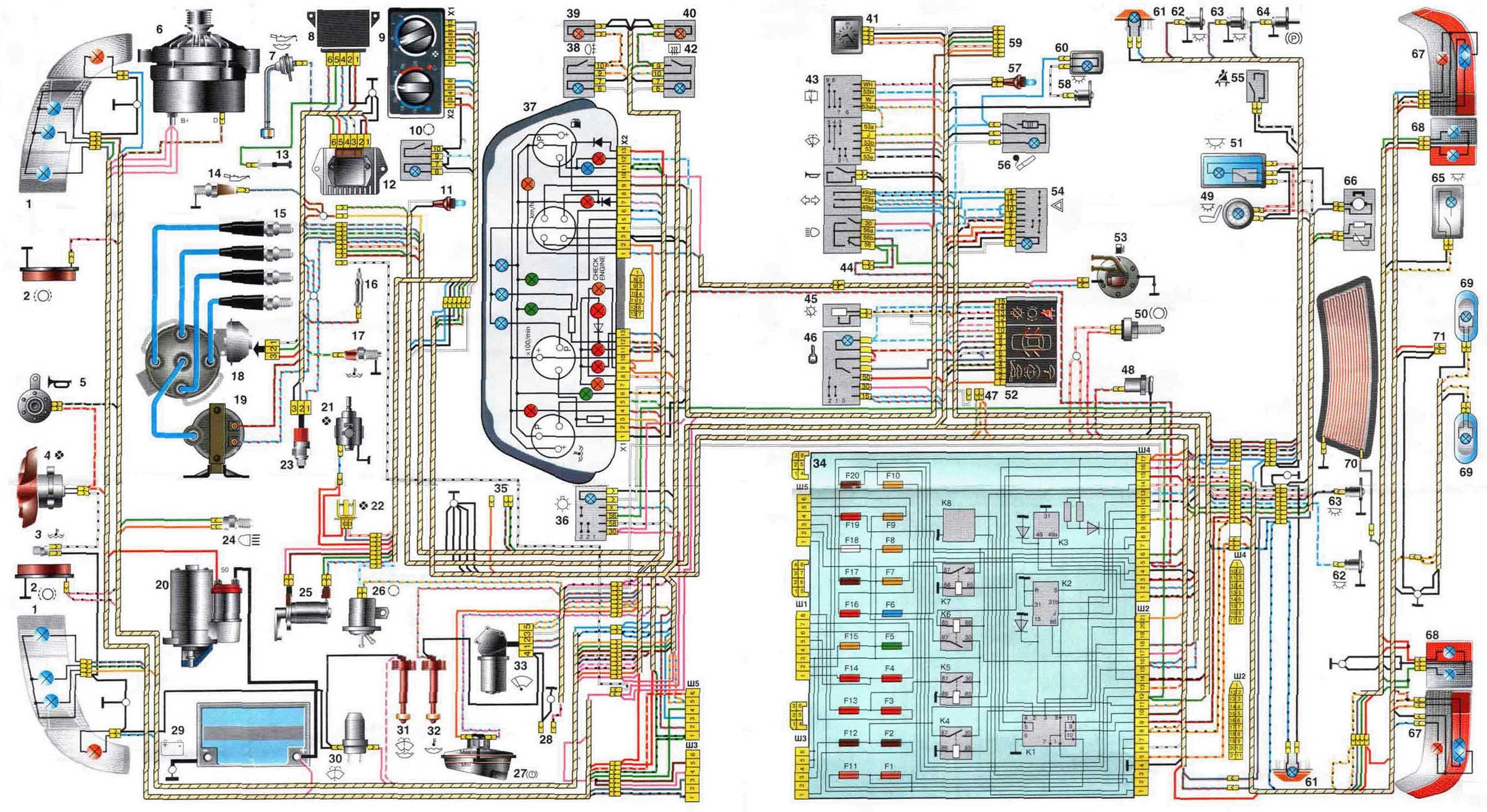 электрическая схема включения бензонасоса ваз 2123